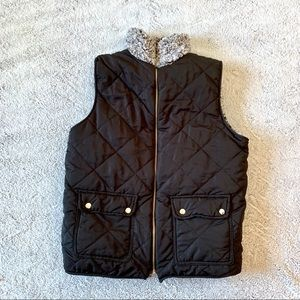 Reversible Sherpa Puffer Quilted Vest Medium